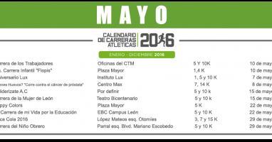 01 MAYO – CALENDARIO CARRERAS ATLÉTICAS 2016