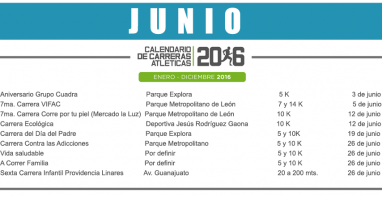 02 JUNIO – CALENDARIO CARRERAS ATLÉTICAS 2016