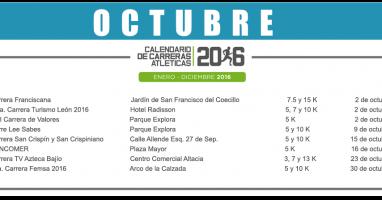 06 OCTUBRE – CALENDARIO CARRERAS ATLÉTICAS 2016
