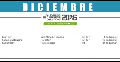 08 DICIEMBRE – CALENDARIO CARRERAS ATLÉTICAS 2016